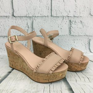 New Kate Spade Tomas Leather Ruffle Cork Wedges